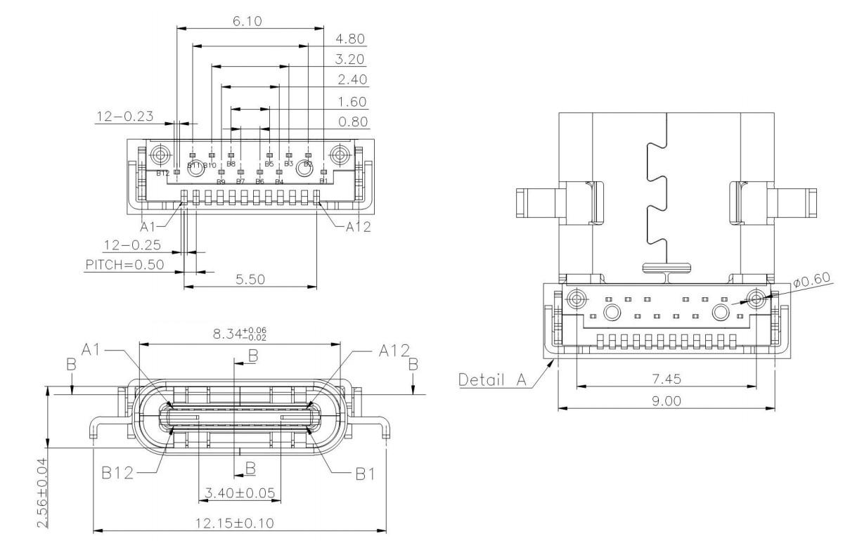 Разъем USB Type-C USB3.1 TYPE-C 24PF-006