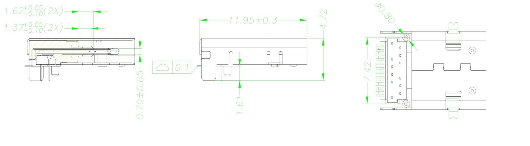 Разъем USB Type-C USB3.1 TYPE-C 24PF-021