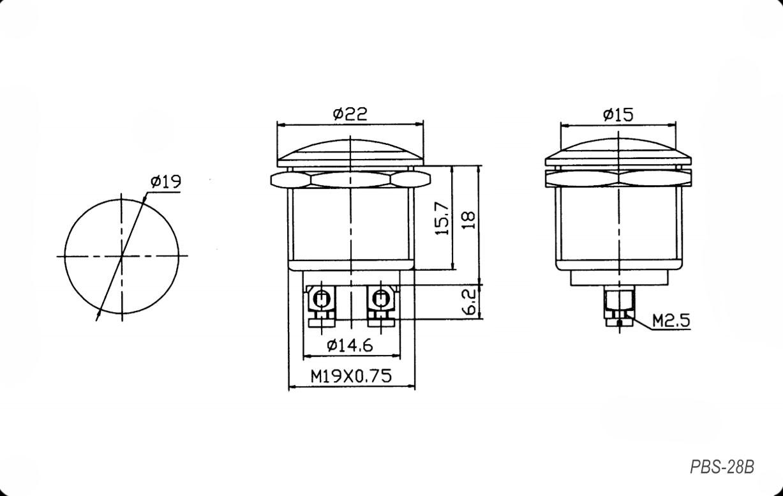 Кнопка антивандальная PBS-28B off-(on) металл