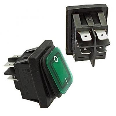 Клавишный переключатель SB092-12V IP65 on-off 22x30mm (green)