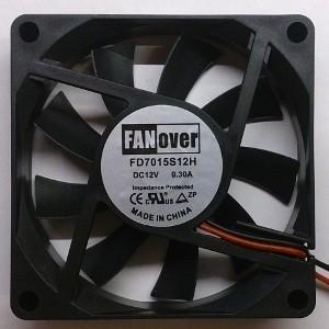 Вентилятор DC 70x70x15 (12v/0.3A) FD7015S12H скольжения FanOver