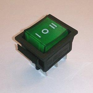 Клавишный переключатель on-off-on 6pin (green) 15A 250V