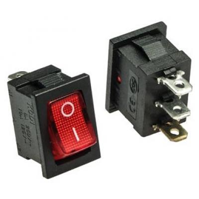 Клавишный переключатель KCD1-106 on-off (red) 6A 250V
