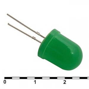 Светодиод 10мм 10 mm green 30 mcd №123