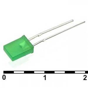 Светодиод плоский 2x5x7 green 30mcd 2.1v