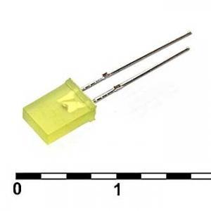 Светодиод плоский 2x5x7 yellow 30mcd 2.1v