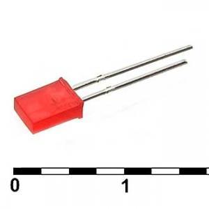 Светодиод плоский 2x5x7 red 30mcd 2,1v